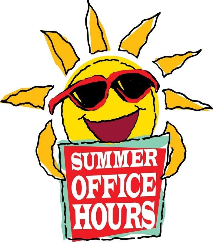Sun holding sign that says summer hours