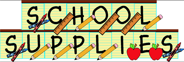 school supply text banner