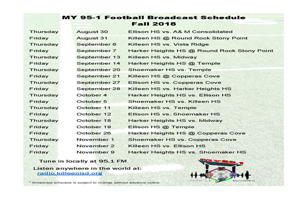 MY 95-1 Football Broadcast Schedule